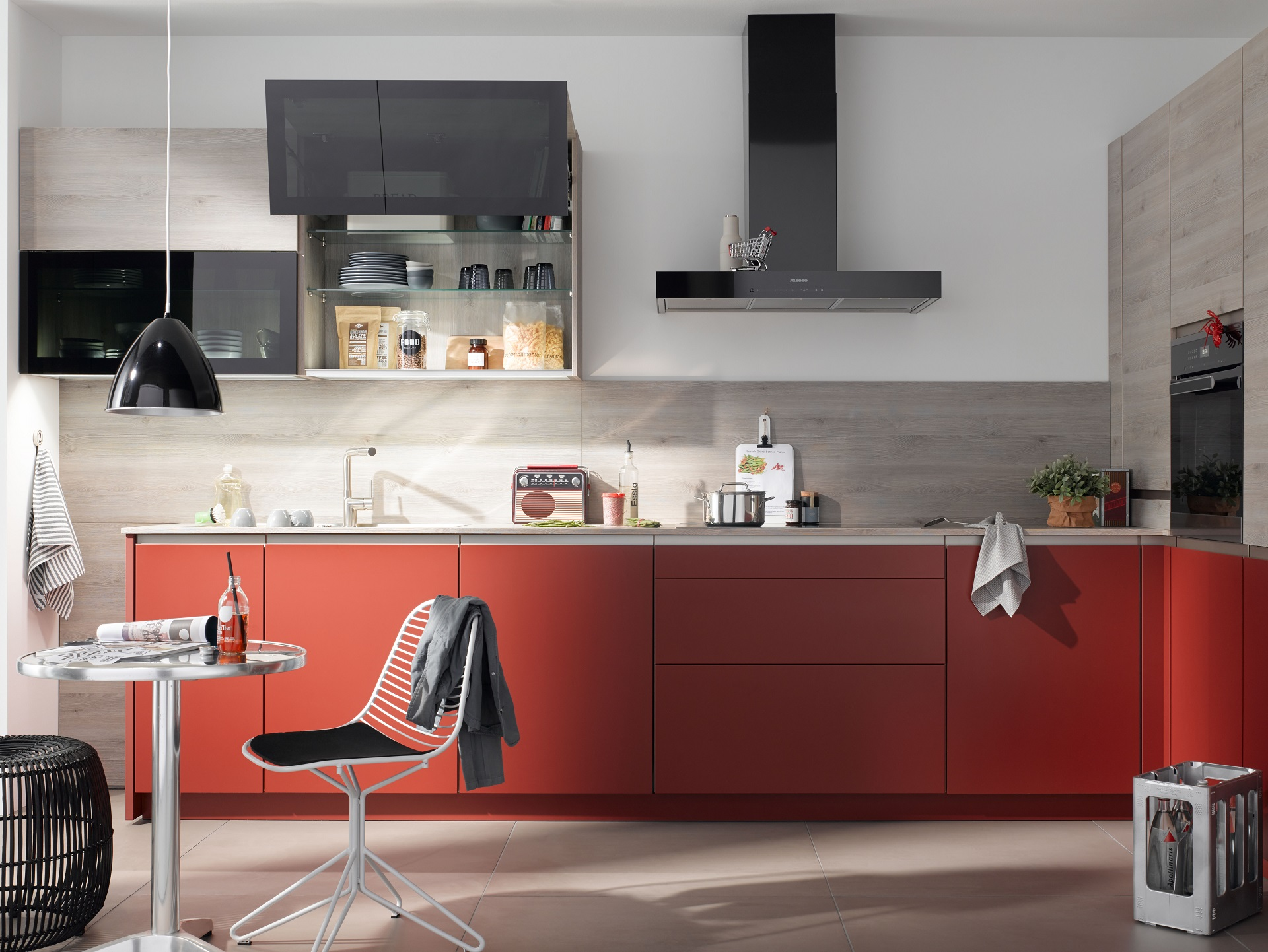 Matt Red & Grey Wood Combination